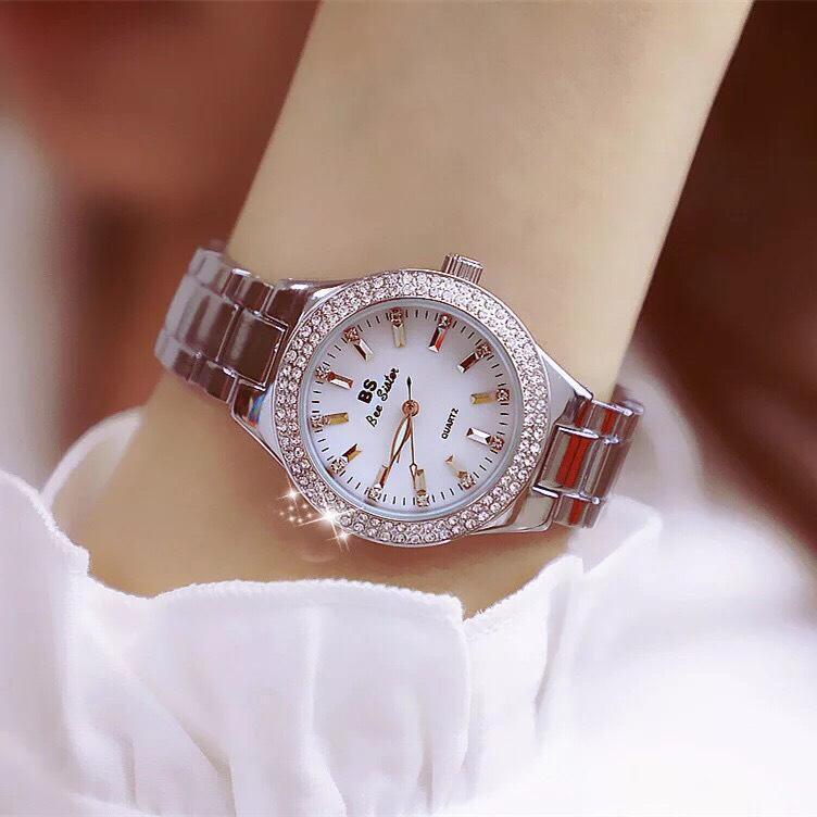 Đồng hồ nữ BS đính đá dây kim loại không gỉ - BS13 bán chạy