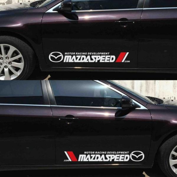 Tem dán cửa xe ô tô Mazda (trắng)