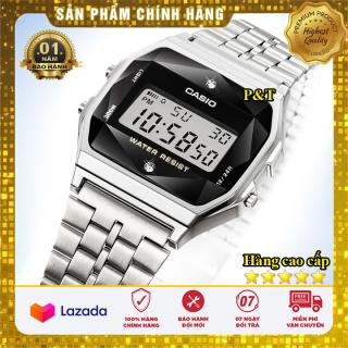 Đồng hồ điện tử casio A168 màn hình kim cương full LED - Dây thép không gỉ - Đồng hồ P&T [ FreeShip- Hàng cao cấp- Full box ] thumbnail