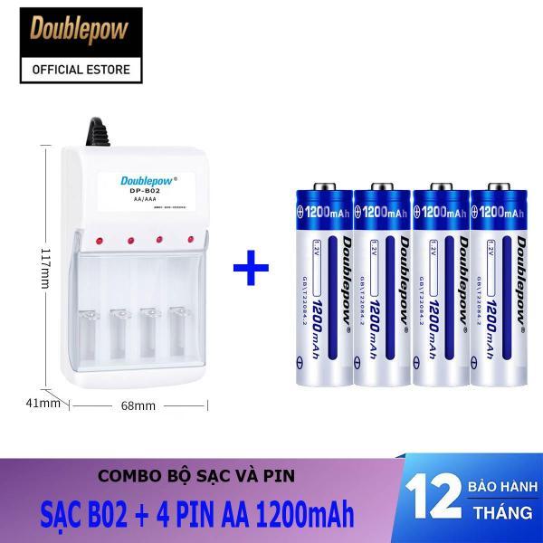 Giá Combo sạc pin 4 cổng B02 và 04 viên pin sạc AA 1200mAh - Doublepow