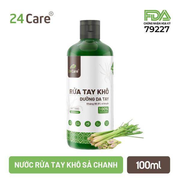 [FDA Approved] Nước rửa tay khô tinh dầu 24Care 100ML (Sả chanh/Cam ngọt/Bạc hà) - Kiểm định diệt khuẩn 99,9% - ĐẠT TIÊU CHUẨN FDA HOA KỲ giá rẻ