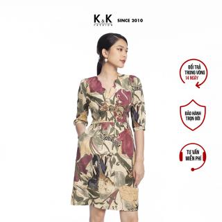 Đầm Công Sở Nữ Dáng Chữ A K&K Fashion KK106-09 Cổ V Họa Tiết Nhiều Màu thumbnail