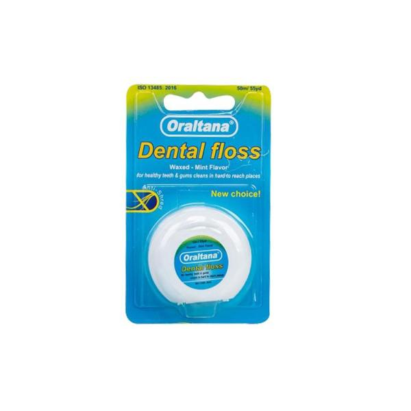 Chỉ nha khoa Oraltana đa sợi cuộn dài 50m hương bạc hà - vỉ 1 cuộn giúp vệ sinh răng miệng sạch sẽ cho gia đình giá rẻ