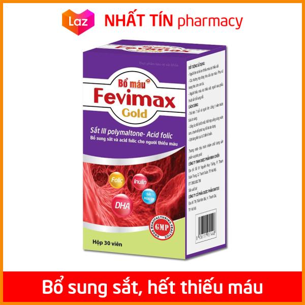 Viên uống Bổ máu Fevimax Gold bổ sung Sắt, Acid Folic cho người thiếu máu não, phụ nữ mang thai và sau sinh - Hộp 30 viên - NHẤT TÍN PHARMACY cao cấp