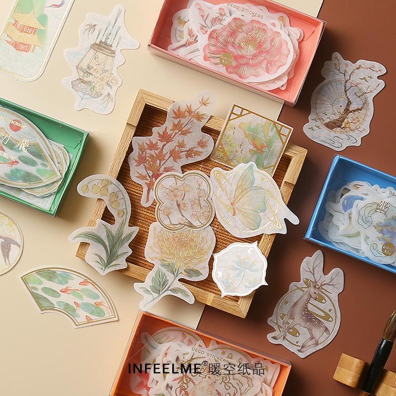 Mua DIY Vintage Notebook Stickers Retro Art Diary Scrapbooking Deco Mini Paper Ablum Chinese Fashion School Supplies