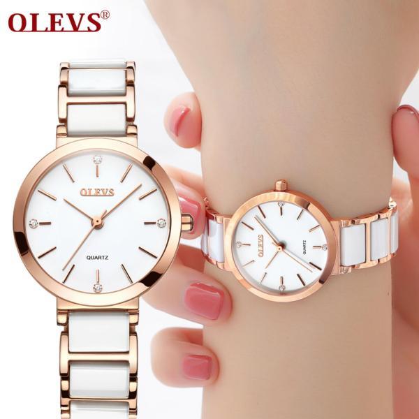 Đồng hồ nữ thanh lịch bằng gốm kiểu pháp thiết kế nữ tính đơn giản OLEVS