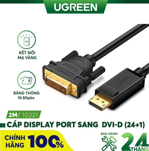 Bảng giá Dây cáp DisplayPort đực sang DVI-D (24+1) đực hỗ trợ 1920x1200 dài 1-8M UGREEN DP103 - Hãng phân phối chính thức Phong Vũ
