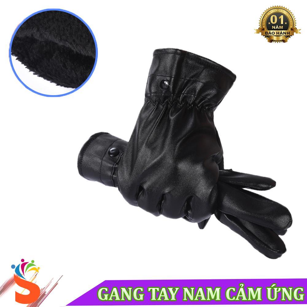 Găng tay da nam cảm ứng lót lông mềm cực ấm FM01