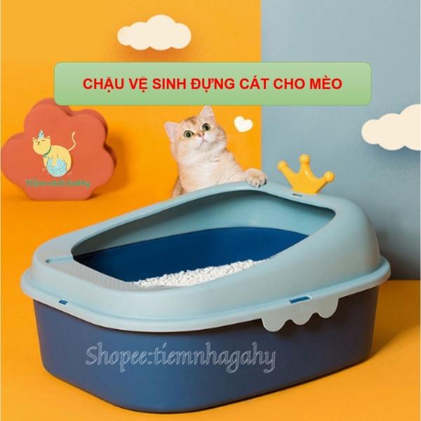 [Tặng Kèm Xẻng] Chậu Khay Vệ Sinh Đựng Cát Cho Mèo Vương Miện- Đuôi Cá- Màu Sắc Đẹp