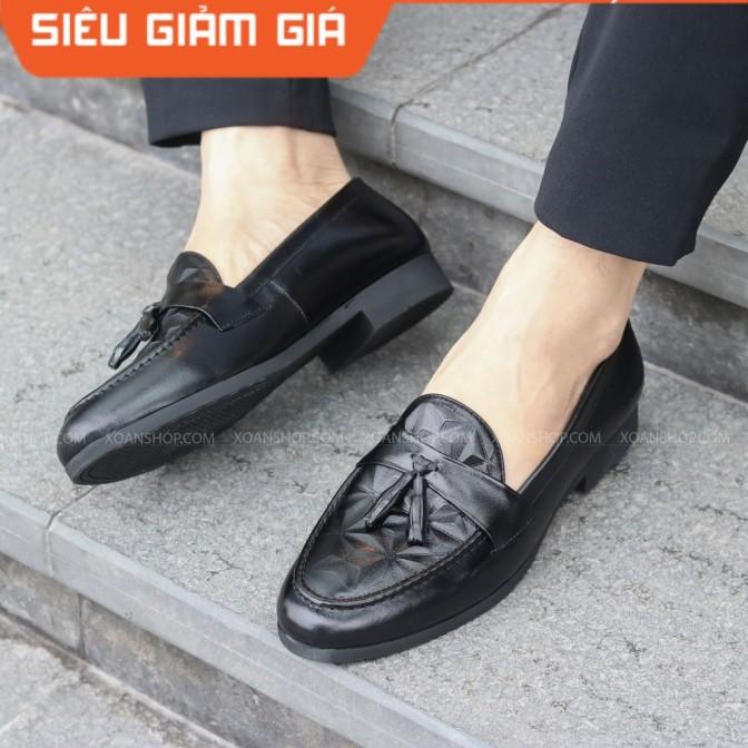 ( FREESHIP) Giày lười nam chất liệu da PU bóng 3D Xoăn Shop Mã G012 chuông. giá rẻ