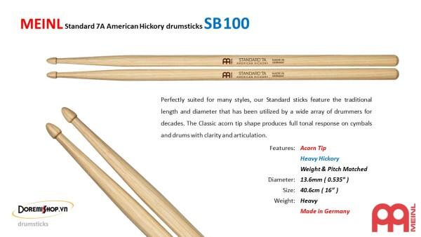 Dùi trống MEINL Standard 7A American Hickory drumsticks SB100