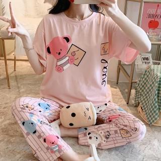 Đồ Bộ Nữ mặc nhà dễ thương chất liệu cotton đầy đặn mát mịn (tay ngắn quần dài)_mã BQD-01 thumbnail