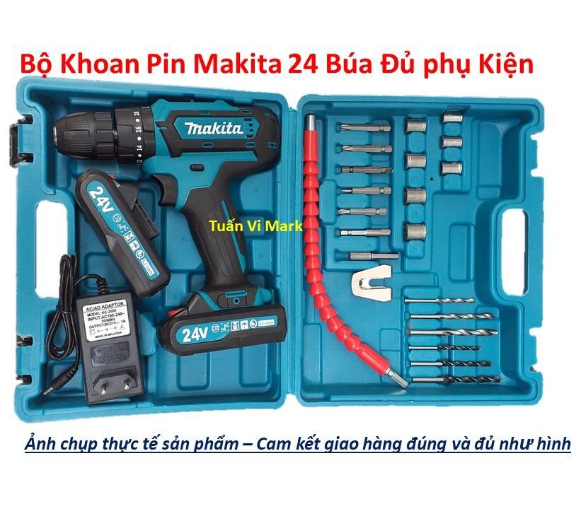 Máy Khoan MAKITA 24V Có Búa Lõi Đồng 2 Pin -Tặng bộ phụ kiện - Bắt Vít, Khoan Sắt, Khoan Tường, Khoan Gỗ - Hàng Malaysia