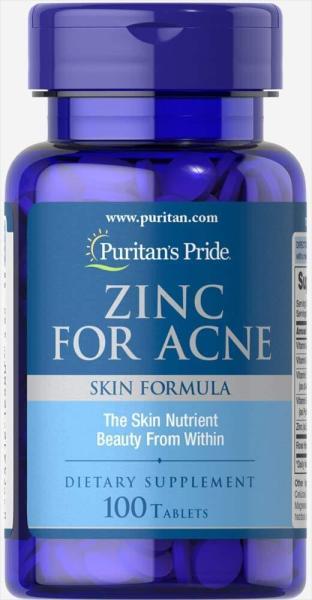 Viên uống kẽm giảm mụn Puritans Pride Premium Zinc For Acne 2580  100 viên Kem giảm mun HSD 9/2021