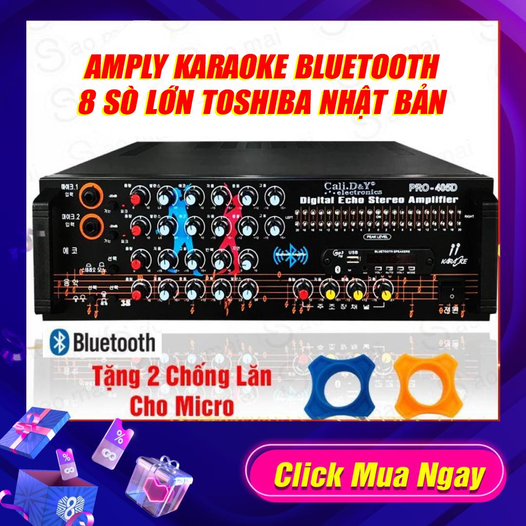 [ Test đèn Nháy Siêu đỉnh ] Ampli Karaoke Amply Nghe Nhạc Gia đình BLUETOOTH Cali.D&Y PRO-405D ( Tặng 1 Dây AV Và 2 Chống Lăn Micro ) Đang Ưu Đãi Cực Đã