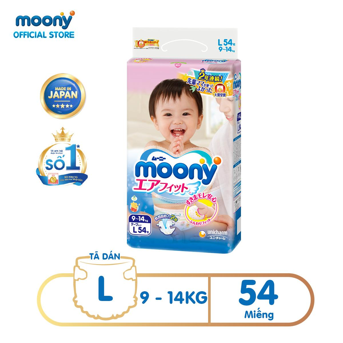Tã dán Moony L - 54 miếng (9 - 14kg)...