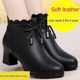Bốt Ngắn Da Mềm Màu Đỏ Và Xanh Lá Cây WTY336 Giày Cao Gót Nữ Trung Niên Thu Đông Mới 2020 Cho Mẹ Bốt Cotton Gót Dày Nhung Có Khóa Kéo