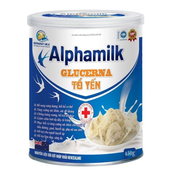 Sữa bột  Alphamil Glucerna Tổ Yến- Giúp bồi bổ cơ thể, tăng sức đề kháng,chống loãng xương, giảm viêm loét dạ dạy, tá tràng, cân bằng huyết áp, hỗ trợ làm đẹp da- hộp 400g