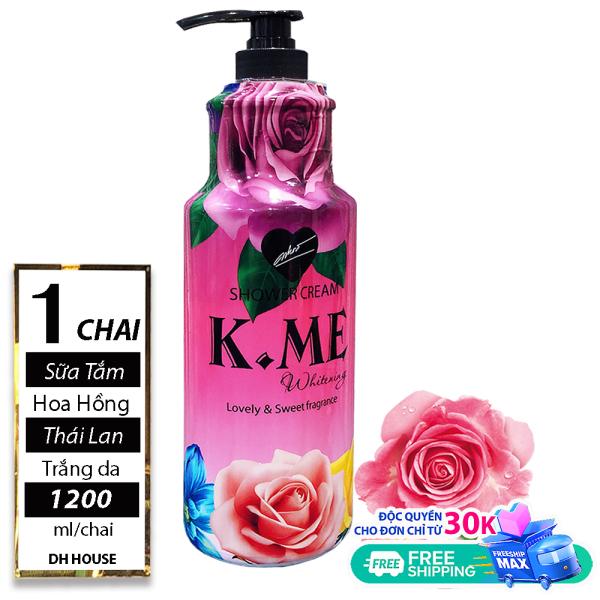 [ TRẮNG DA, CHỐNG TIA UV ] 01 Chai (1200ml) Sữa Tắm Trắng Hương Hoa Hồng K.ME Thái Lan (Date: 36 tháng) giá rẻ