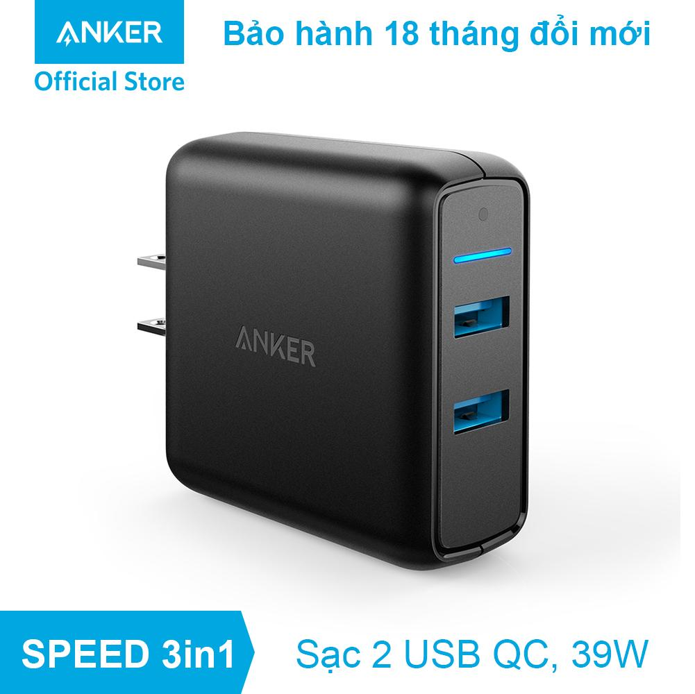 Sạc ANKER PowerPort Speed 2 cổng 39w Quick Charge 3.0 - A2025