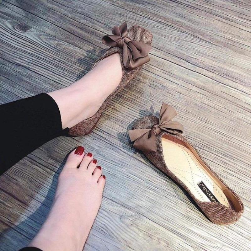 Giày búp bê nữ đế bệt thắt nơ mẫu mới cực xinh