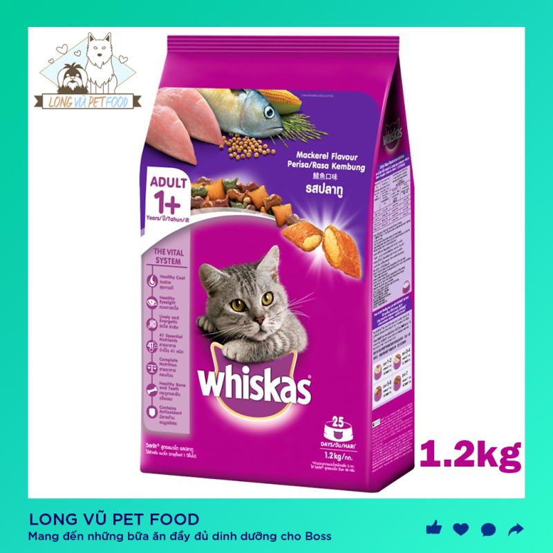 Thức ăn mèo Whiskas vị cá biển túi 1.2kg - Long Vũ Pet Food