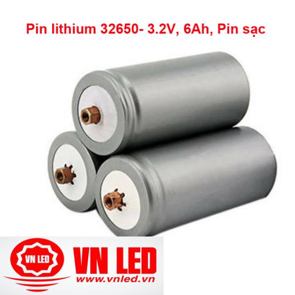 Pin lithium 32650- 3.2V, 6Ah, kèm ốc vít, Pin sạc Lithium, cell pin, vnled.vn, đt 0936395395