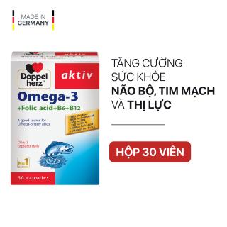 Viên uống tăng cường thị lực, tim mạch và não bộ Doppelherz Aktiv Omega-3 + Folic acid + B6 + B12 (Hộp 30 viên) thumbnail