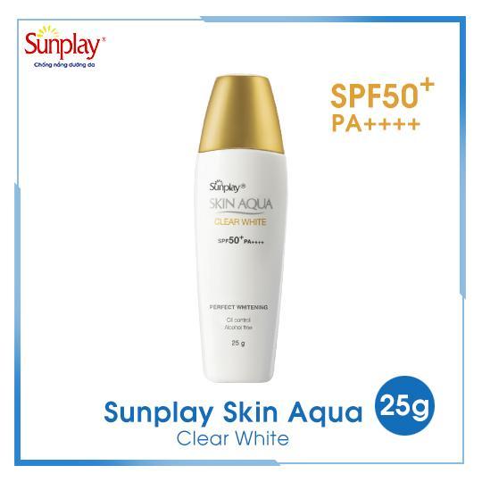 Sữa chống nắng hằng ngày dưỡng trắng Sunplay Skin Aqua Clear White SPF 50+ PA++++ 25g + Tặng Sữa chống nắng Skin Aqua 5g