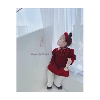Áo dài cách tân cho bé trai bé gái, Áo dài Tết mẫu mới hottrend vải gấm cao cấp cho bé từ 8kg đến 22kg (màu đỏ)