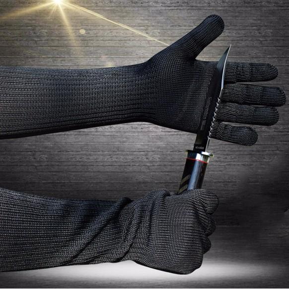 Găng tay chống dao cắt dài tay bằng sợi thép chống gỉ màu đen