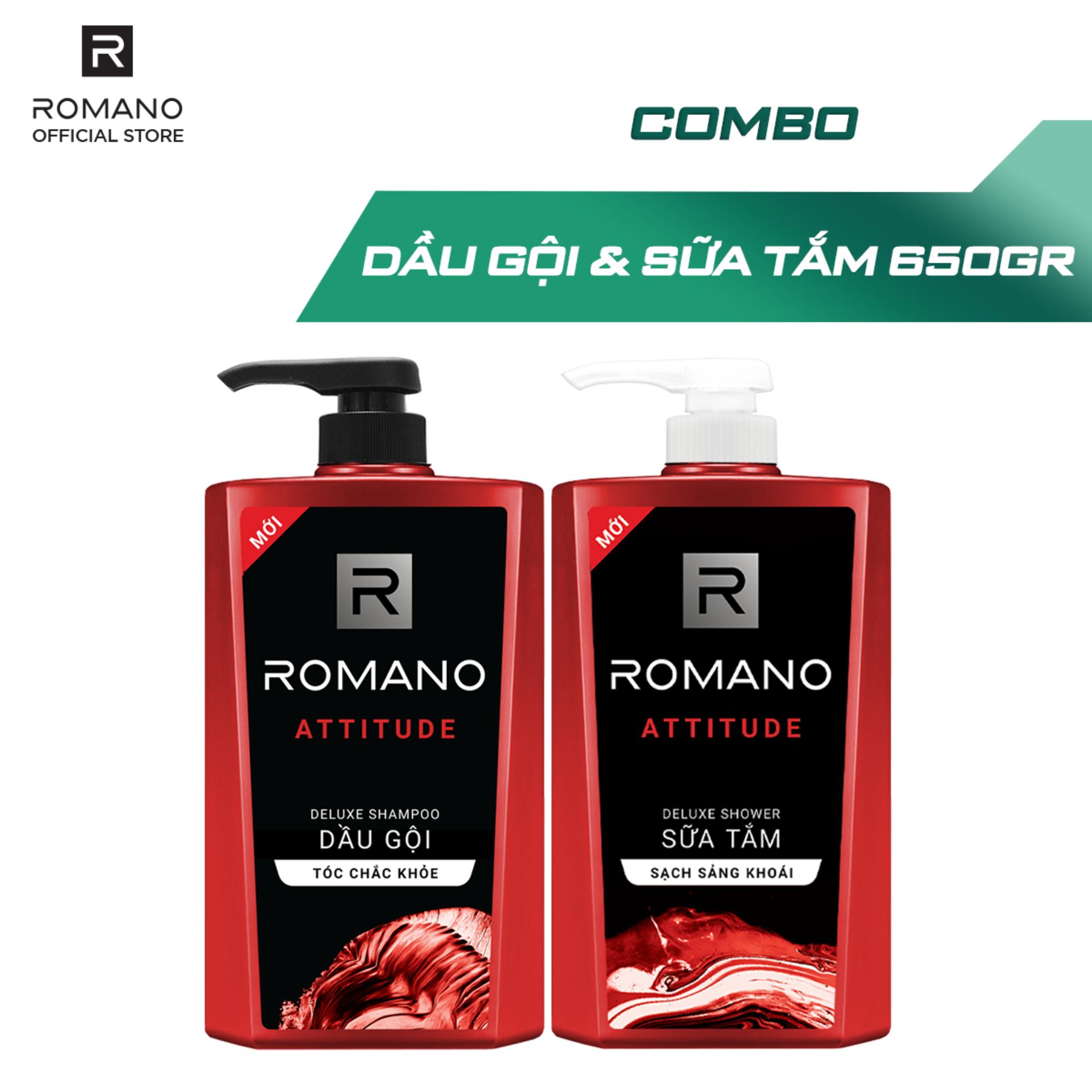 Combo Dầu gội và Sữa tắm cao cấp Romano Attitude sang trọng đẳng cấp 650gr nhập khẩu