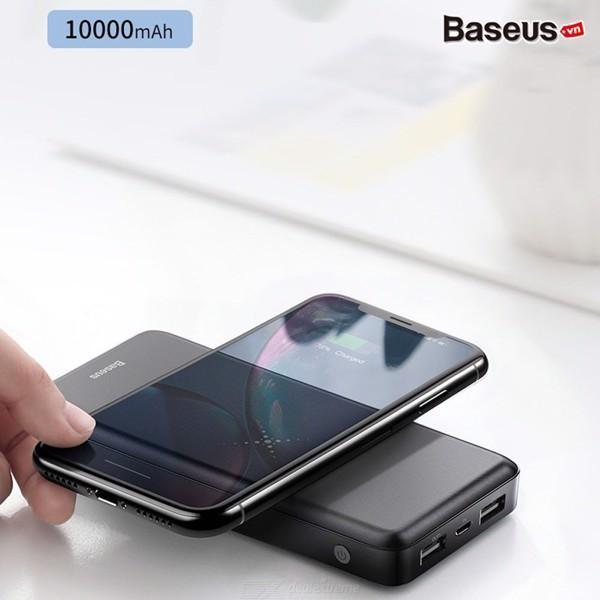 Sạc không dây đa năng Baseus M36 siêu đẹp thông minh chuẩn Qi kiêm pin dự phòng 10000 mAh cho Iphone 8, iphone X, iphone Xs Max, Samsung Galaxy S9, Note8, Note 9
