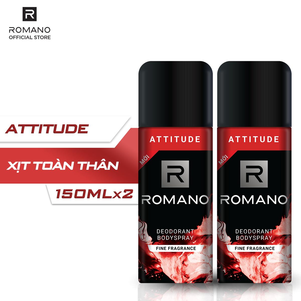 Combo 2 Xịt toàn thân Romano Attitude nồng ấm cá tính 150ml cao cấp