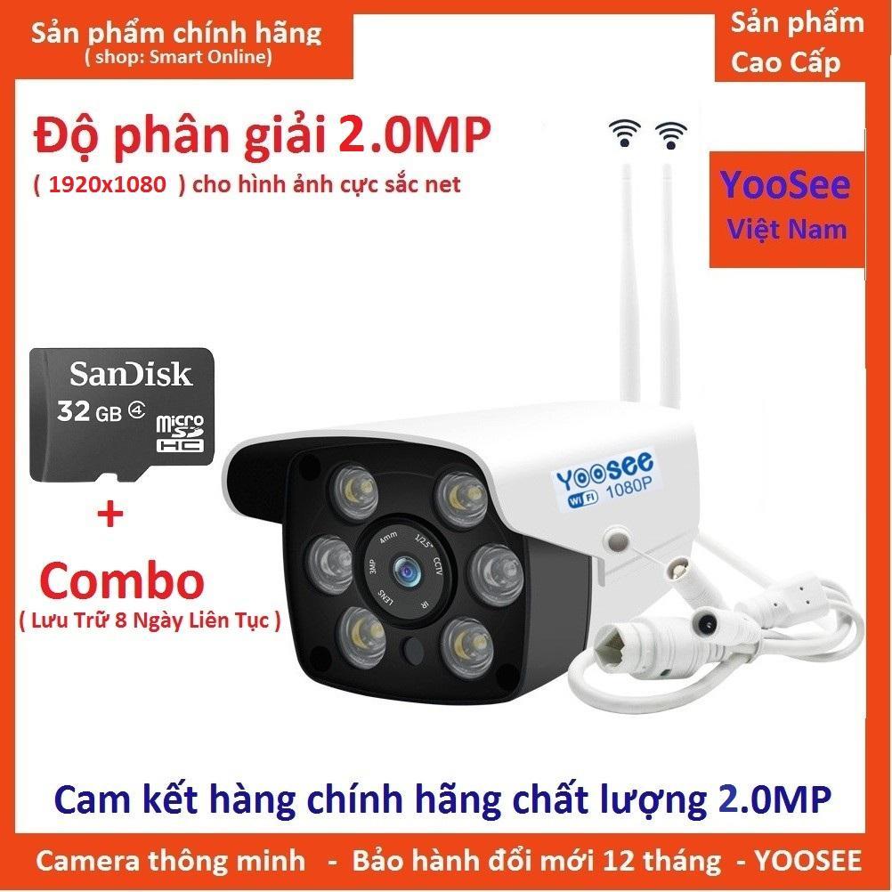 (Tặng Kèm thẻ nhớ 32GB)Camera Wifi Trong nhà-ngoài trời Yoosee ZQ26-2.0Mpx- HD1080 - hỗ trợ 2 đèn hồng ngoại và 4 đèn LED xem đêm có Màu Cực Nét Nhật Bản