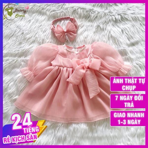 [𝑯𝑰̀𝑵𝑯 𝑻𝑯𝑨̣̂𝑻] Váy Công chúa cho bé màu hồng - Chất liệu cao cấp và an toàn cho bé - TẶNG KÈM TURBAN - Thích hợp đi chơi, đi tiệc, làm quà tặng thôi nôi, sinh nhật cho bé - BATORY Store