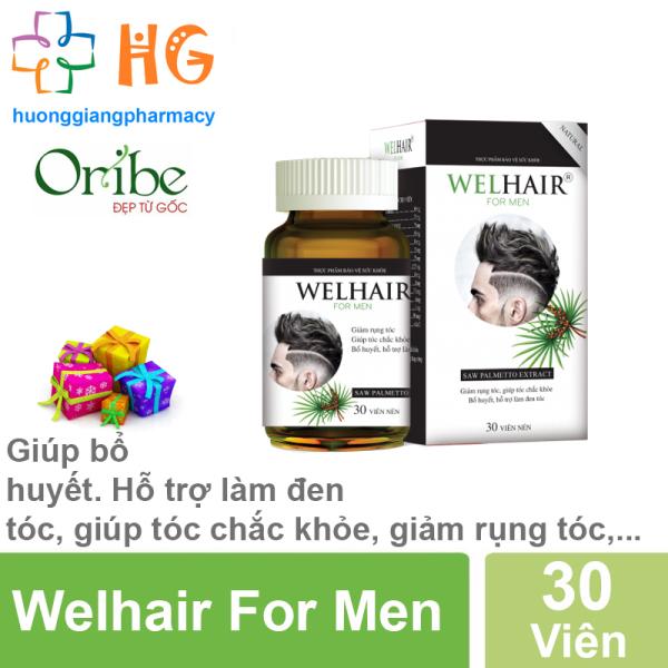 Giảm rụng tóc Welhair For Men - Hỗ trợ làm đen tóc, giúp tóc mọc chắc khỏe, giảm rụng tóc (Lọ 30 Viên) giá rẻ