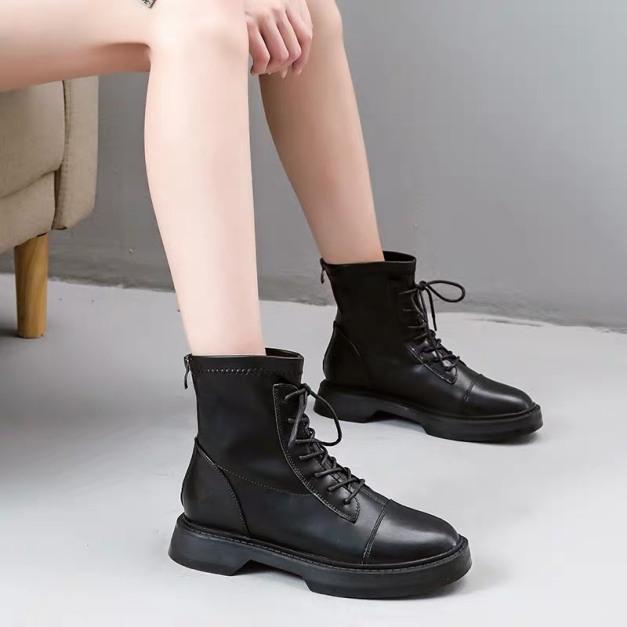 Bốt dây nữ cao cổ khóa sau - giày boot nữ màu đen da bóng cá tính boots nữ ulzzang phong cách hàn quốc đẹp giá rẻ thời trang hot 2020 giá rẻ