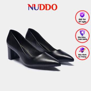 Giày cao gót nữ thời trang công sở cao cấp Nuddo 5cm gót trụ da mền thumbnail
