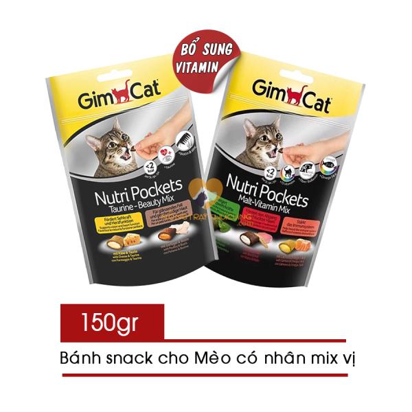 Bánh Snack - Bánh Thưởng GimCat Cho Mèo Có Nhân Mix Vị Gói 150g - GimCat Nutri Pockets - [Nông Trại Thú Cưng]