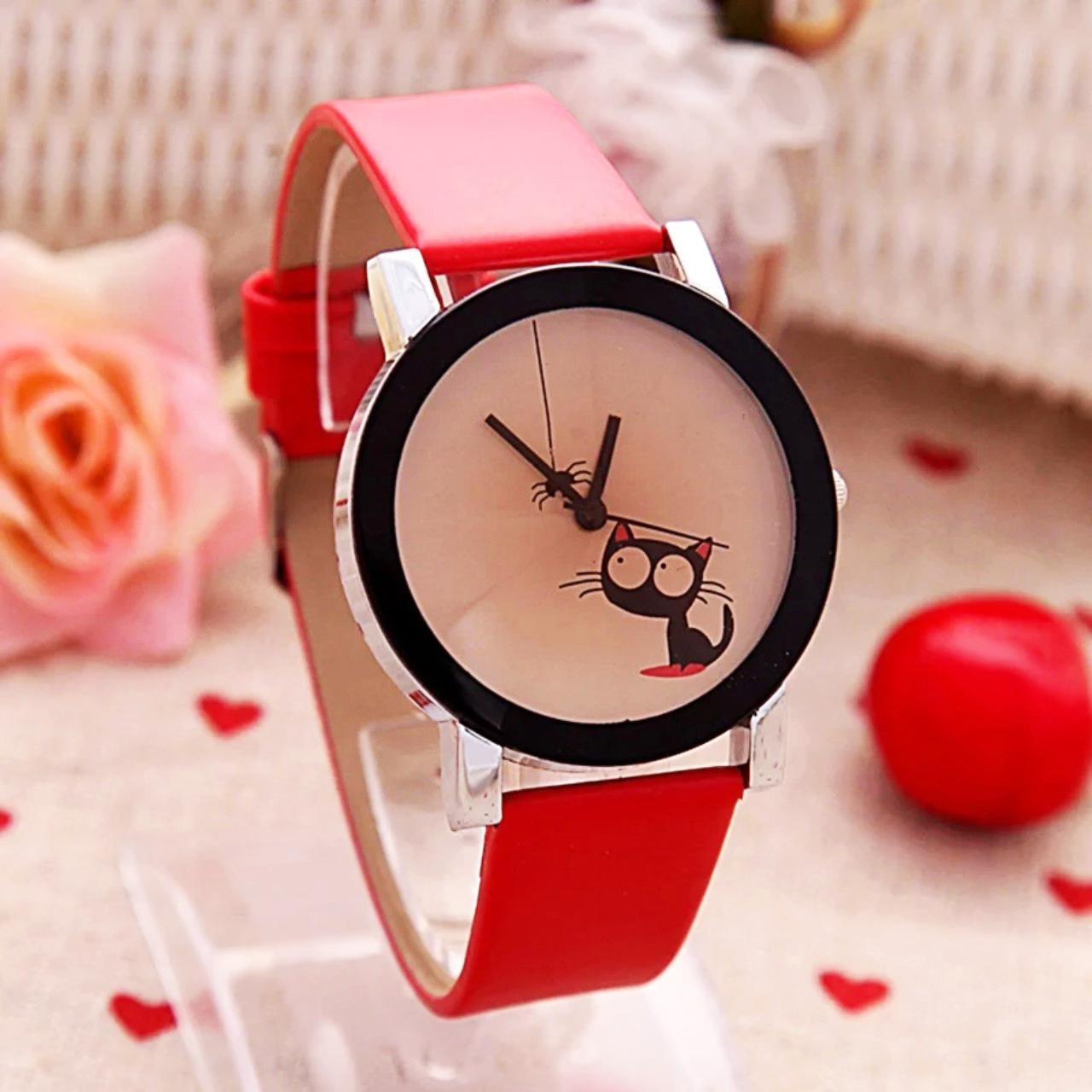 Đồng hồ đeo tay cho bé gái hình mèo cute dây da xinh xắn – DH005 bán chạy