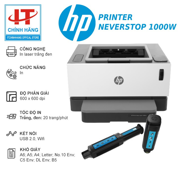 Máy in HP Neverstop Laser 1000w chính hãng mực 5000 Trang