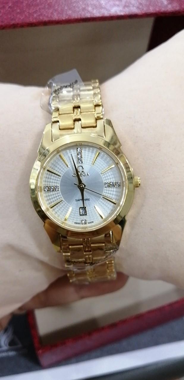Đồng hồ nam, nữ  802 màu vàng kính saphia chống trầy xước tốt bán chạy