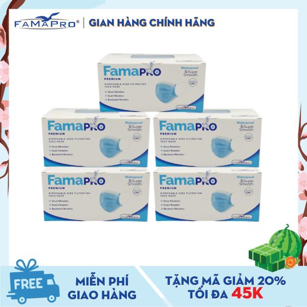 Combo 5 hộp khẩu trang y tế cao cấp 4 lớp kháng khuẩn Famapro Premium (40 cái / Hộp)