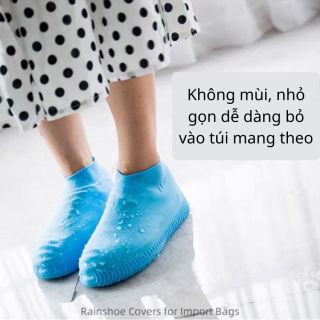 Bao giày đi mưa bọc giày đi mưa silicon cao cấp có size đế vân chống trượt - Q33119