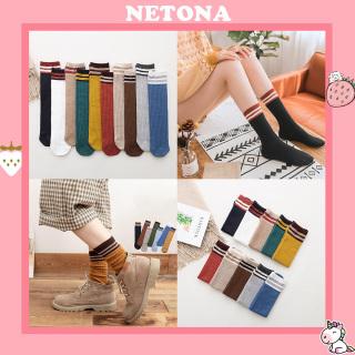 Tất vớ nữ cao cổ dài len gân vintage Hàn Quốc NE08 thumbnail