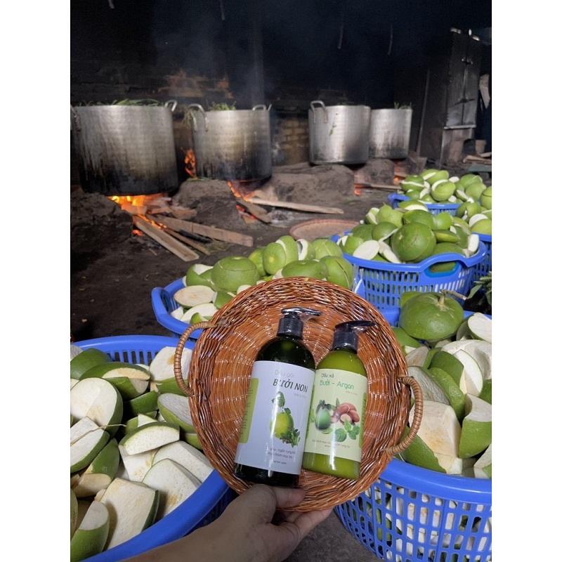 Dầu Gội Bưởi Non Handmade giúp Giảm Gàu, Nấm, Ngứa, Rụng Tóc 500ml - 100% Thiên Nhiên