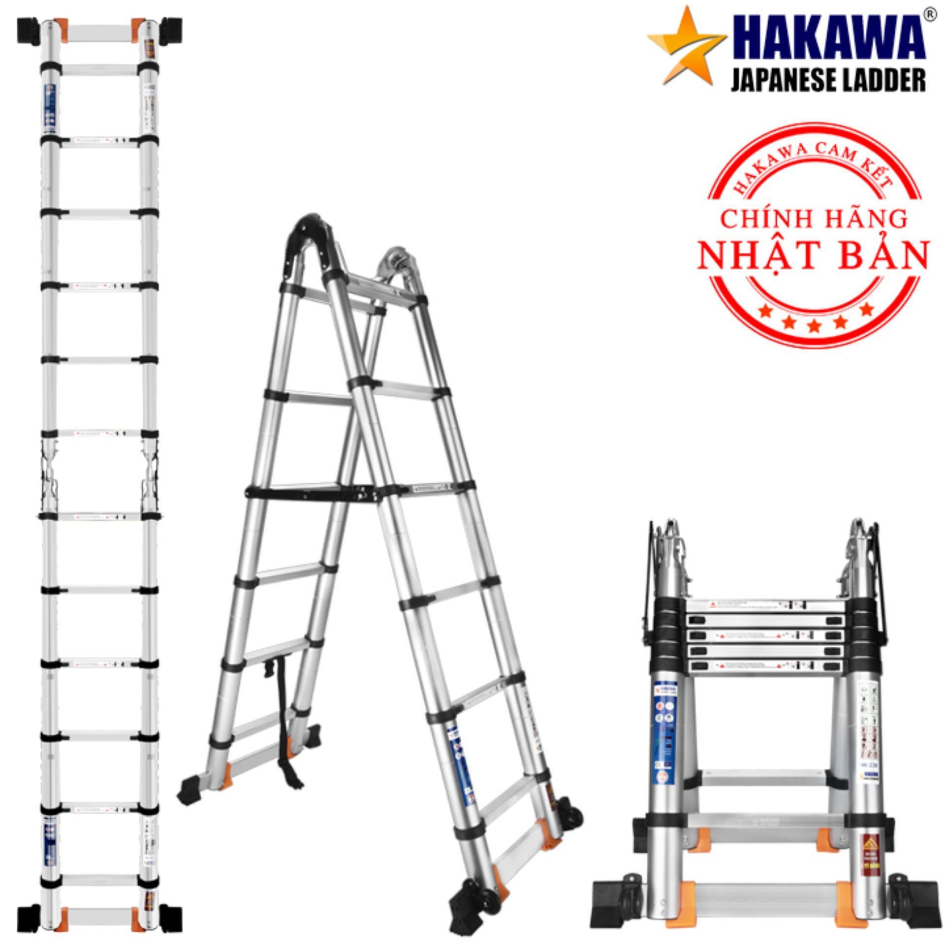 [HỖ TRỢ SHIP 100%] Thang nhôm rút chữ A HAKAWA HK238  - HÀNG NHẬT BẢN, chất lượng cao, 3 mét 8