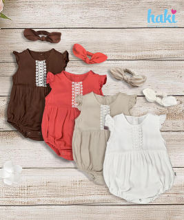 Body cho bé vải thô lanh cao cấp mát lạnh mềm mịn - body suit cho trẻ sơ sinh - đồ sơ sinh cho bé gái - áo liền quần cho trẻ sơ sinh , body cánh tiên cho bé từ  đến 2 tuổi (6- 13kg) thương hiệu Haki HK505