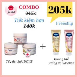 [TRỢ GIÁ 5K KHI FOLLOW SHOP + FREESHIP] COMBO tẩy da chết Dove và dưỡng thể Vaseline thumbnail